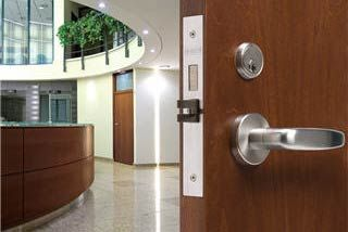 wood door, stainless door knob